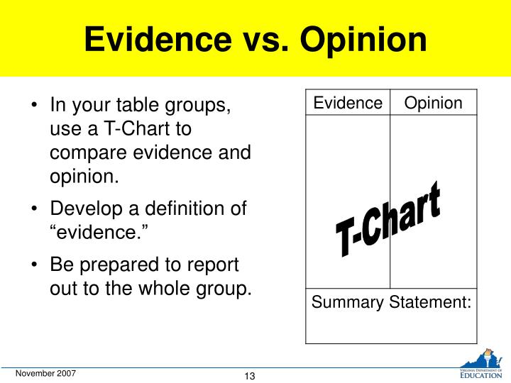 Evidence vs. Opinion