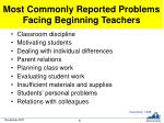 most commonly reported problems facing beginning teachers