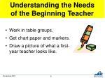 understanding the needs of the beginning teacher