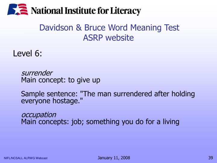 Davidson & Bruce Word Meaning Test