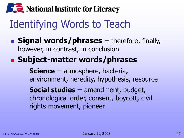 Identifying Words to Teach