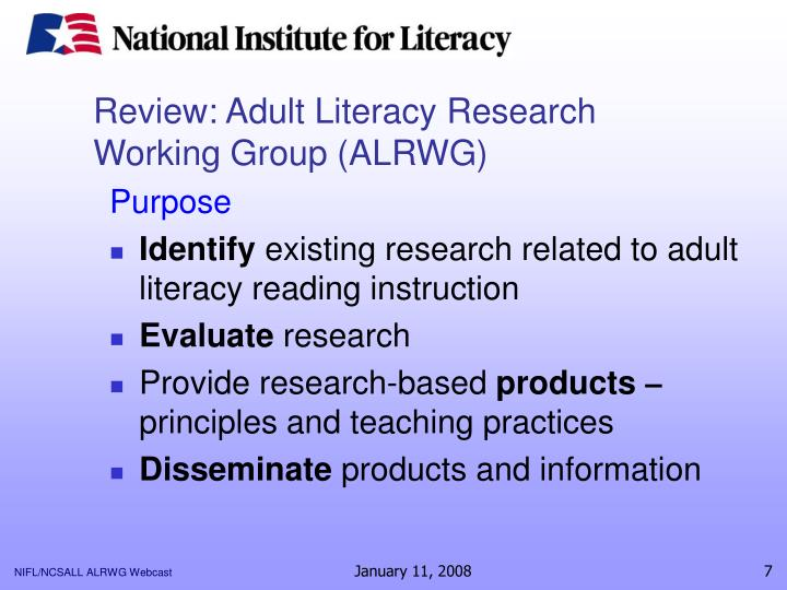Review: Adult Literacy Research Working Group (ALRWG)