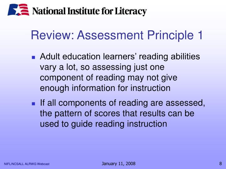 Review: Assessment Principle 1