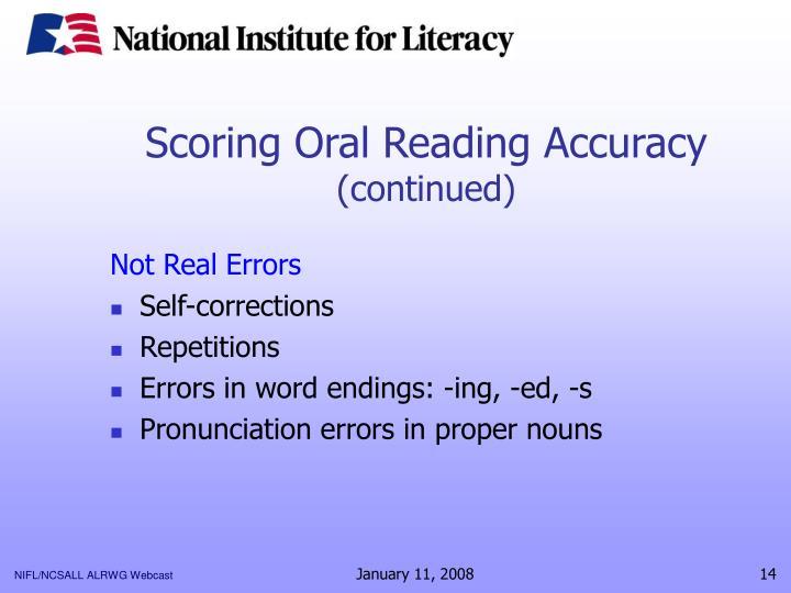 Scoring Oral Reading Accuracy