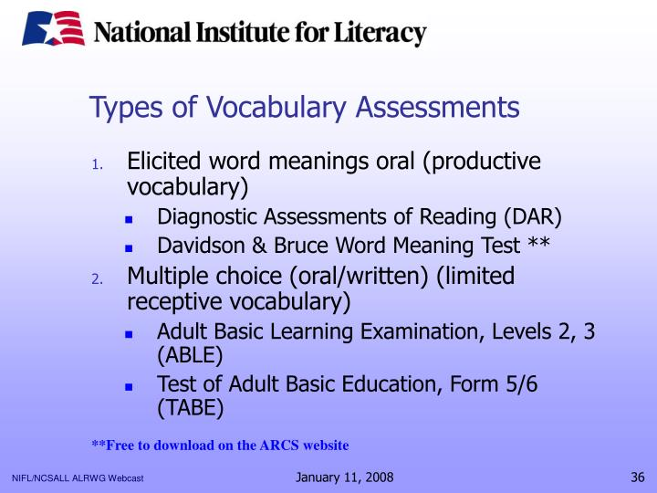 Types of Vocabulary Assessments