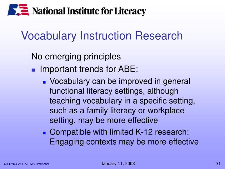 Vocabulary Instruction Research