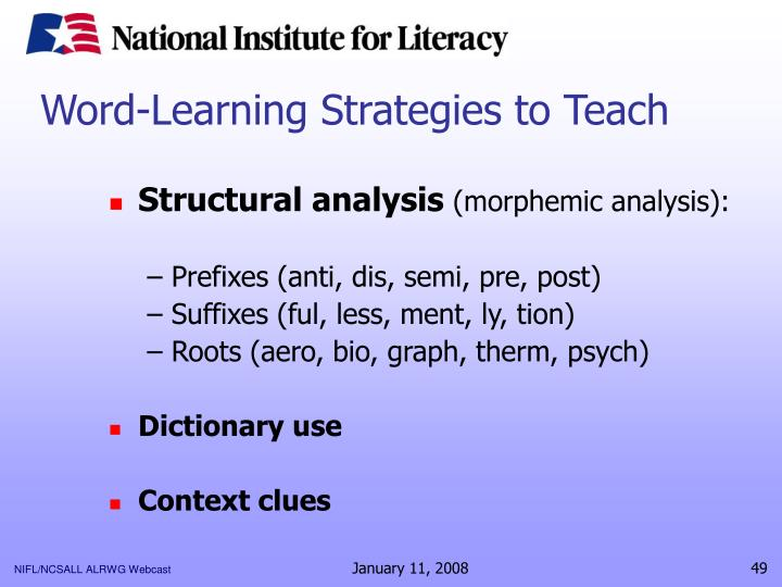 Word-Learning Strategies to Teach