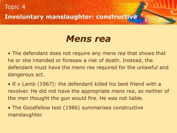 Involuntary manslaughter: constructive