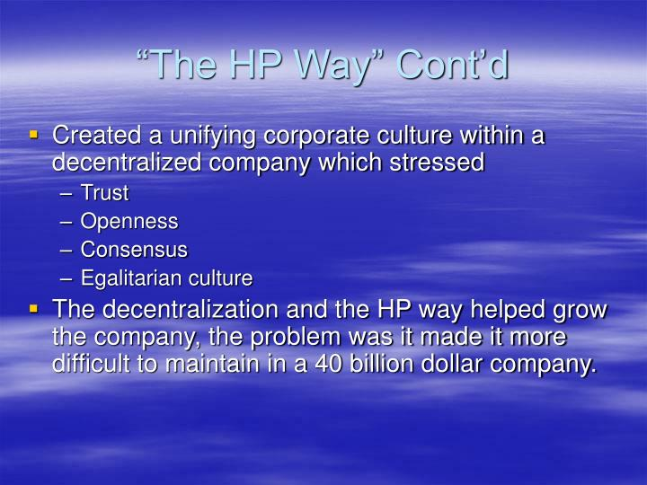 """The HP Way"" Cont'd"