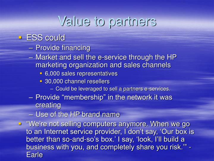 Value to partners