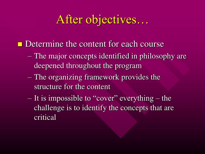 After objectives…