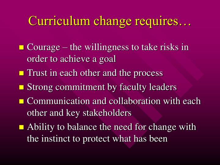 Curriculum change requires…