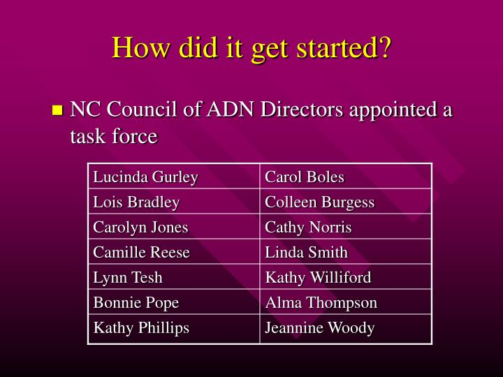 NC Council of ADN Directors appointed a task force
