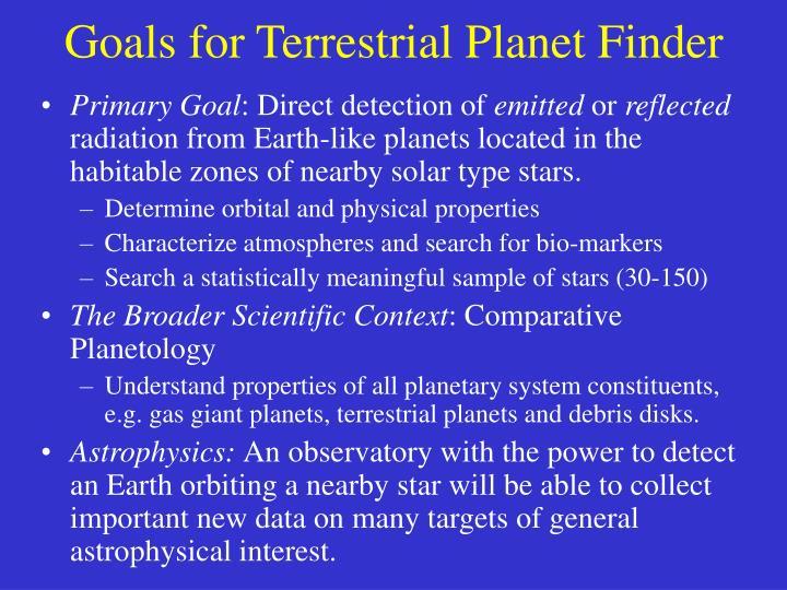 Goals for Terrestrial Planet Finder