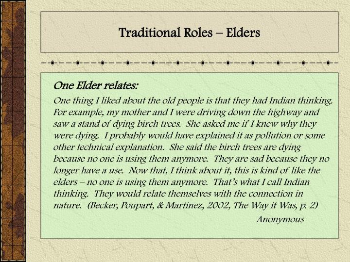 Traditional Roles – Elders