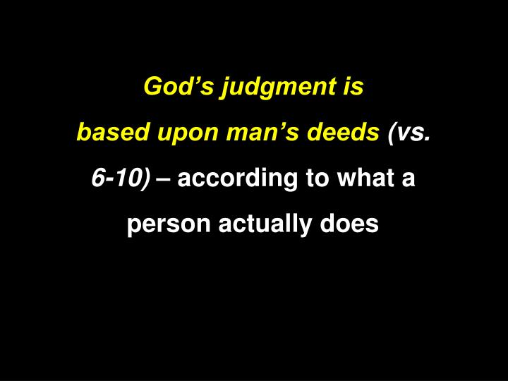 God's judgment is