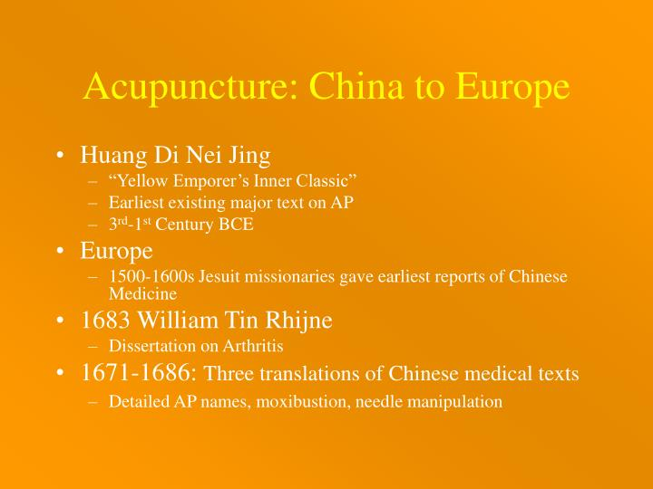 Acupuncture: China to Europe