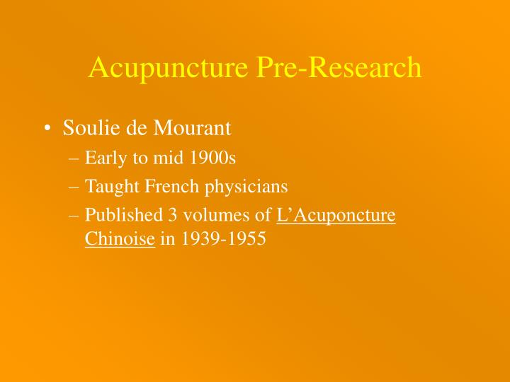 Acupuncture Pre-Research