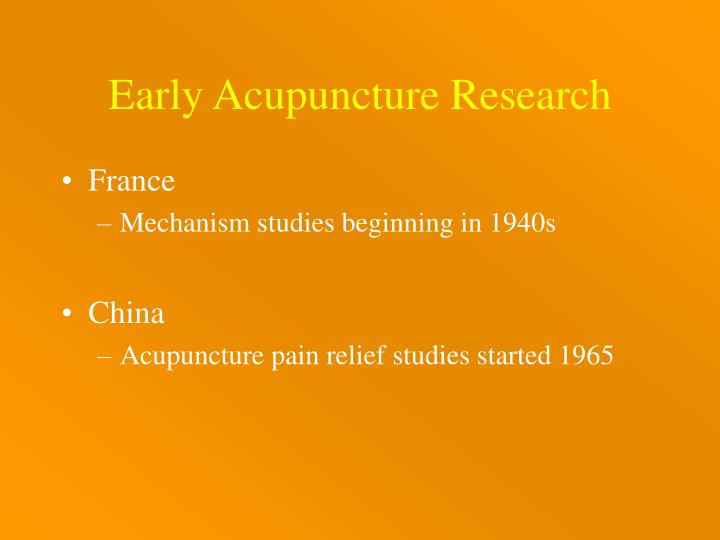 Early Acupuncture Research