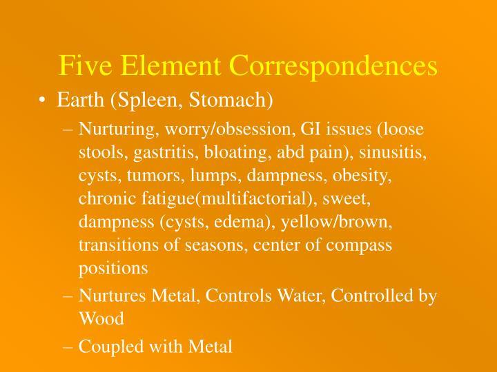 Five Element Correspondences