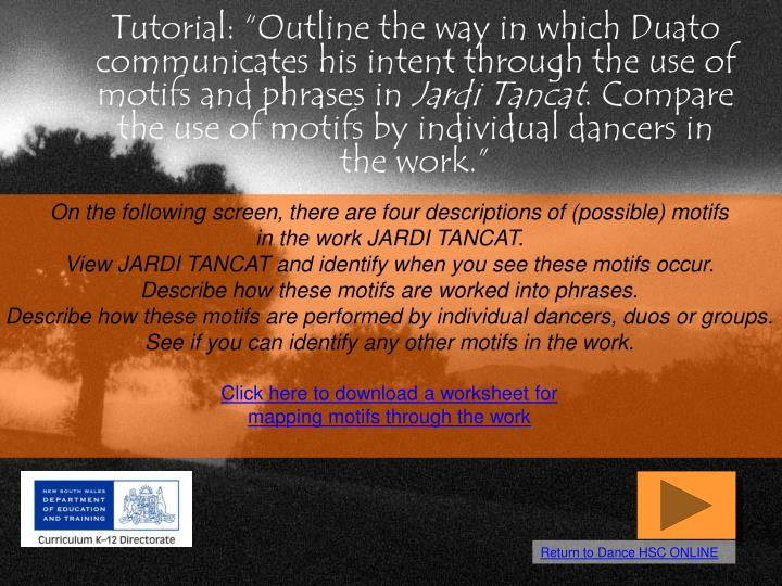 "Tutorial: ""Outline the way in which Duato communicates his intent through the use of motifs and ph..."