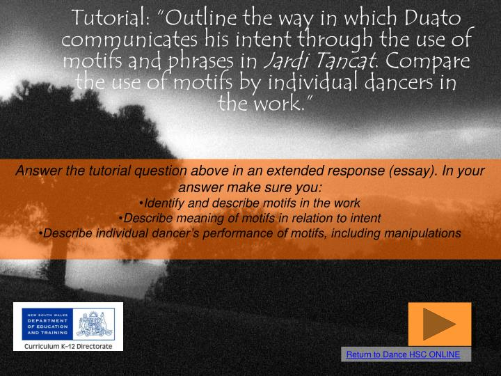 "Tutorial: ""Outline the way in which Duato communicates his intent through the use of motifs and phrases in"