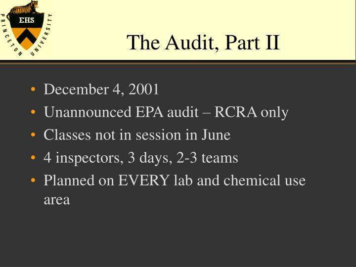 The Audit, Part II