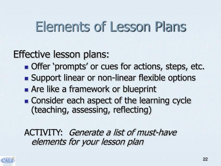 Elements of Lesson Plans