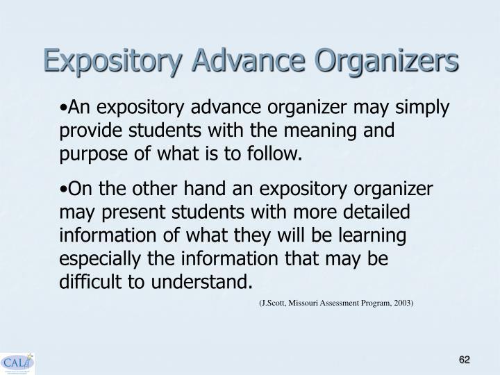 Expository Advance Organizers