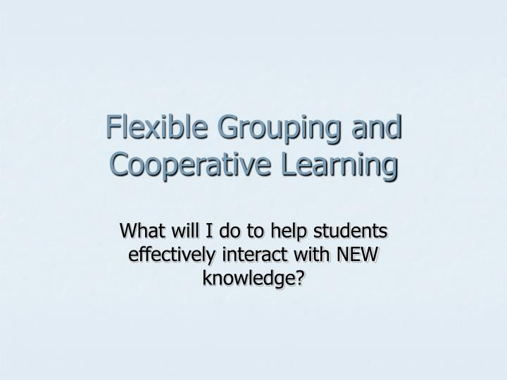 Flexible Grouping and Cooperative Learning