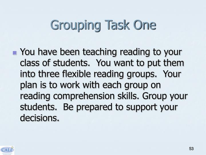 Grouping Task One