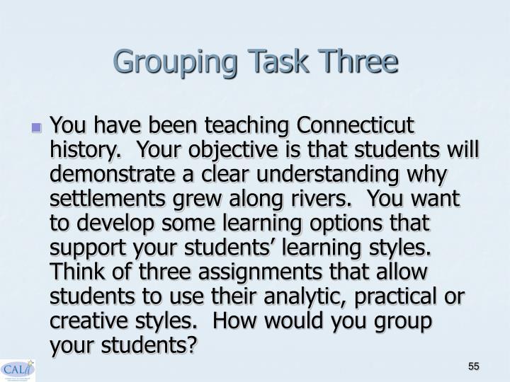 Grouping Task Three