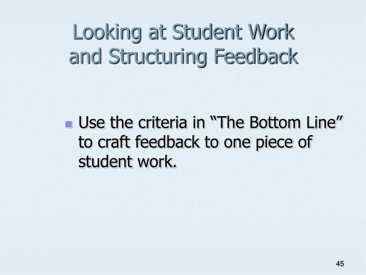 Looking at Student Work