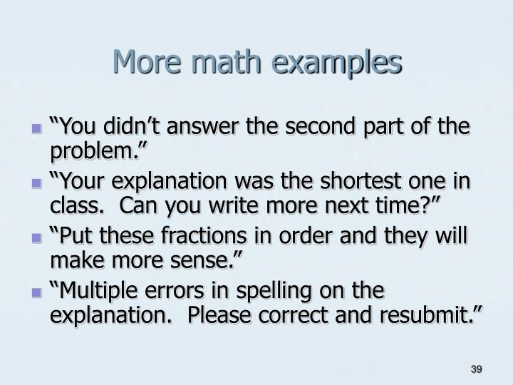 More math examples