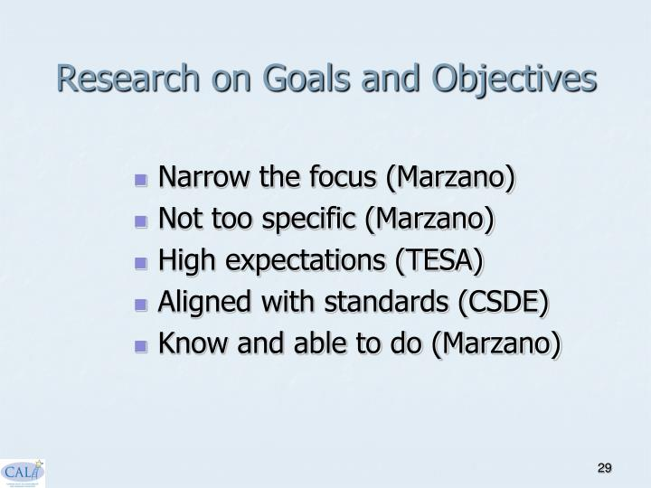Research on Goals and Objectives