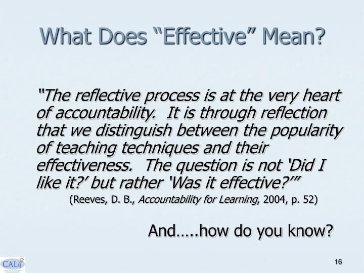 """What Does """"Effective"""" Mean?"""