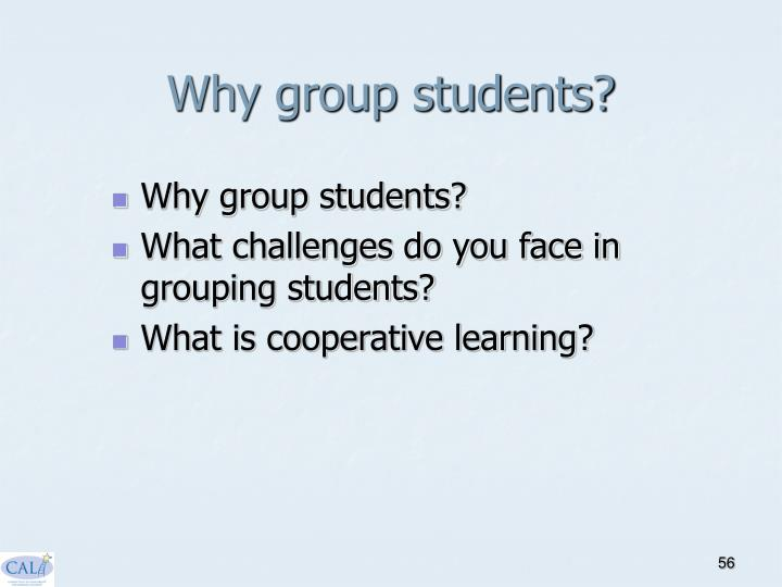 Why group students?