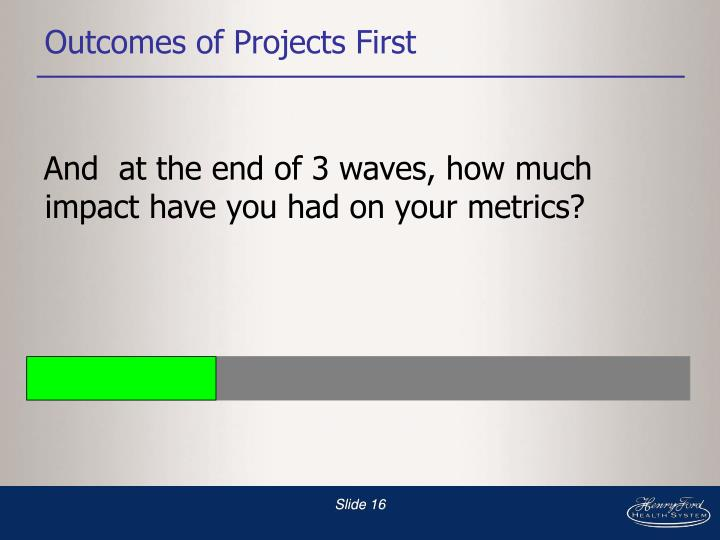 Outcomes of Projects First