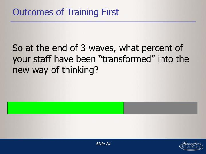 Outcomes of Training First