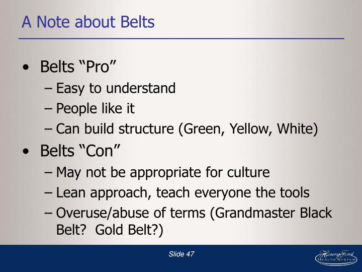 A Note about Belts