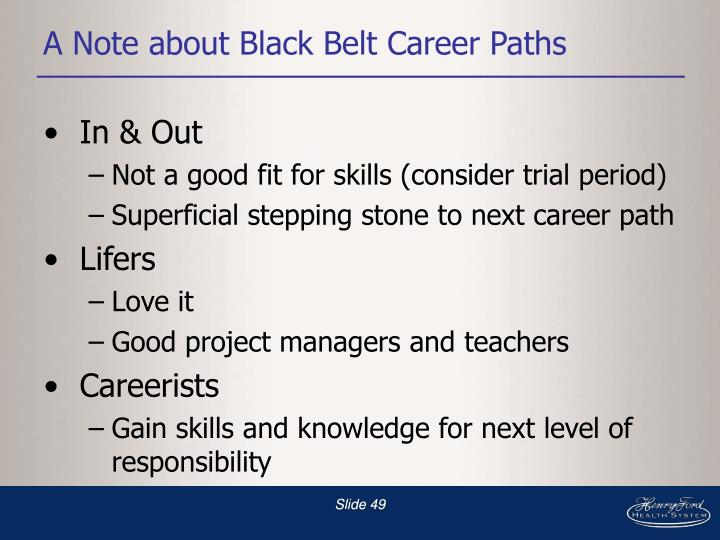 A Note about Black Belt Career Paths