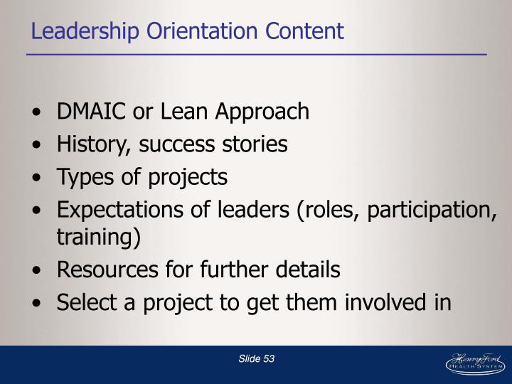 Leadership Orientation Content