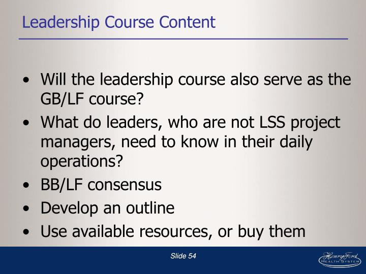 Leadership Course Content