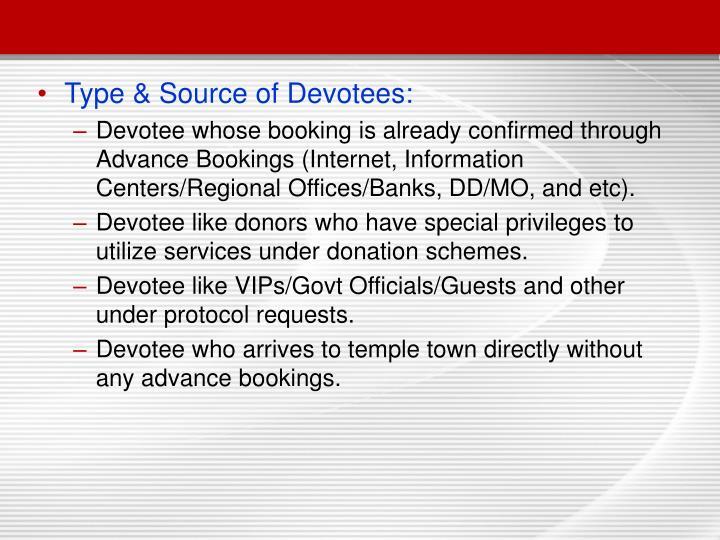 Type & Source of Devotees:
