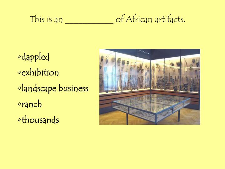 This is an ___________ of African artifacts.