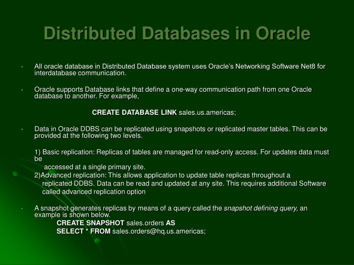 Distributed Databases in Oracle