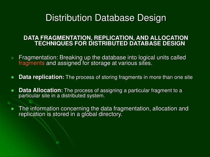 Distribution Database Design