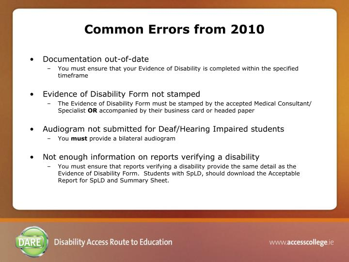 Common Errors from 2010
