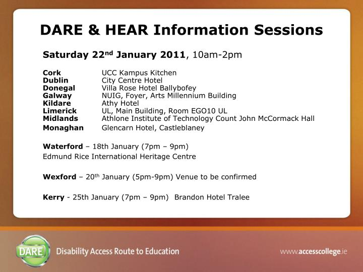 DARE & HEAR Information Sessions