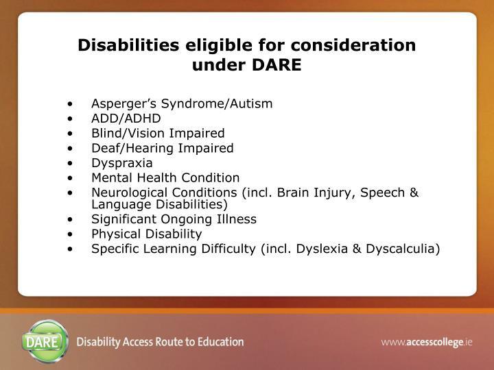 Disabilities eligible for consideration